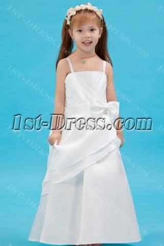 Ivory Straps Long Taffeta Mini Bridal Gowns