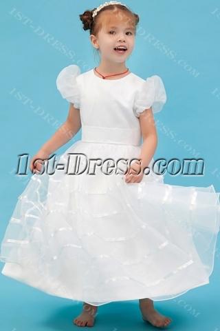 Ivory Toddler Flower Girl Dresses Cheap with Short Sleeves