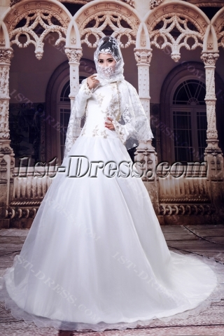 Ivory Winter Hijab Wedding Dress with Long Sleeves