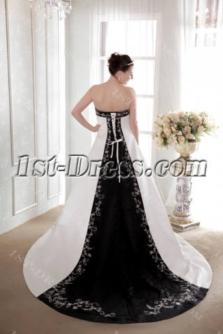 Ivory and Black Classical Bridal Gown 2013
