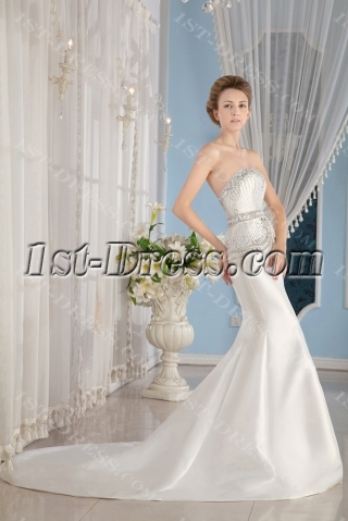 Jeweled Luxury Sheath Wedding Dress 2013 Fall