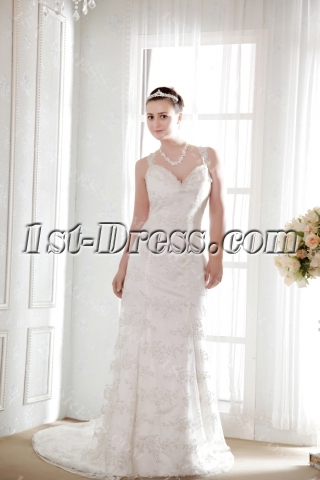 Lace Sheath Couture Wedding Dresses with V-neckline
