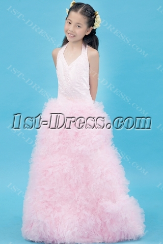 Luxurious Pink Mini Bridal Gown with Halter