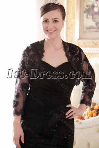 Modest Black Mother of Groom Gown with Long Sleeves Jacket