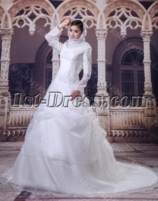 Modest Long Sleeves Arab Wedding Dresses