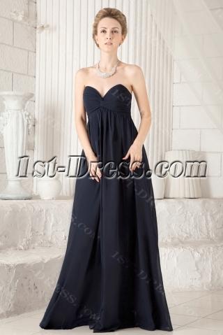 Navy Blue Chiffon Sweetheart Maternity Prom Dress