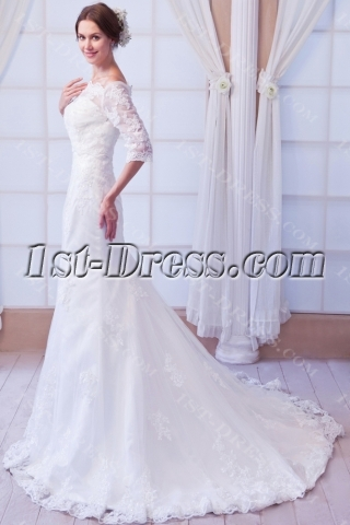 Off Shoulder Sheath Lace Wedding Dress with Middle Sleeves