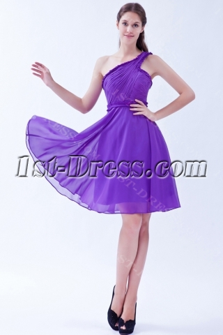 One Shoulder Cheap Purple Short Homecoming Dresses