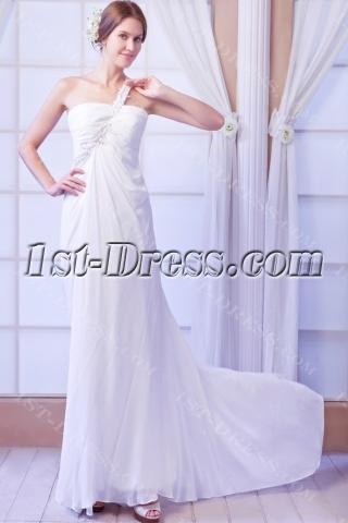 One Shoulder Sexy Beach Wedding Dress with Keyhole