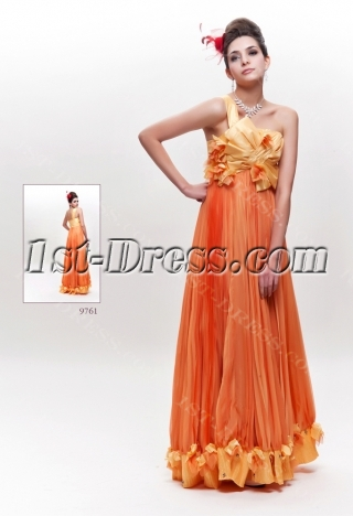 Orange Long Lovely Junior Prom Dress