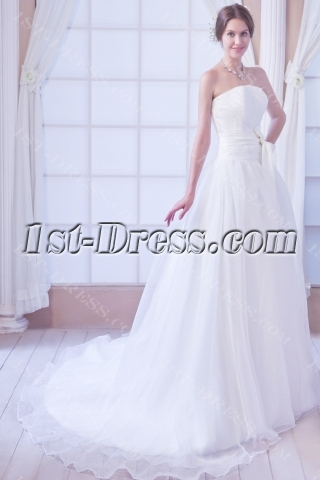 Organza Cheap Bridal Gowns for Large Size