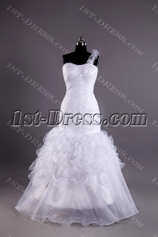 Outdoor Casual One Shoulder Long Wedding Dresses