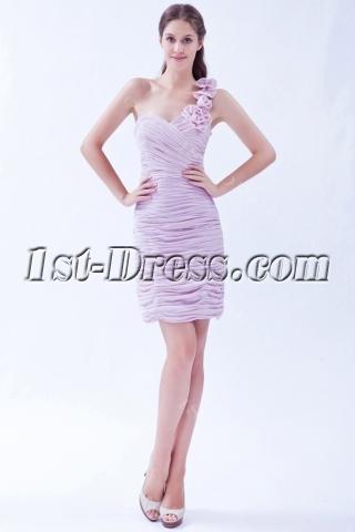 Pretty One Shoulder Lavender High School Graduation Dress