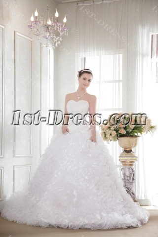 Puffy Ruffle Ball Gown Wedding Dresses with Basque