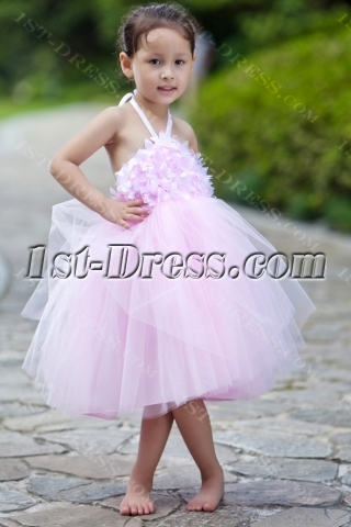 Puffy Short Pink Girl Party Dress with Open Back