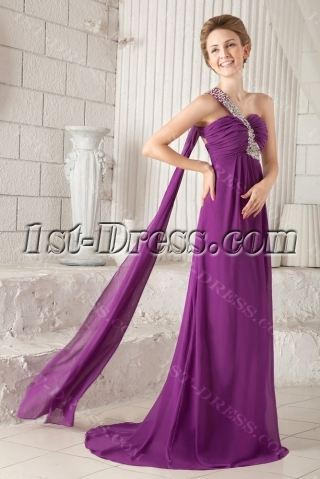 Purple One Shoulder Sexy Graduation Dress for College