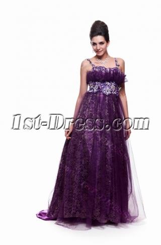 Purple Plus Size Cocktail Dress Long