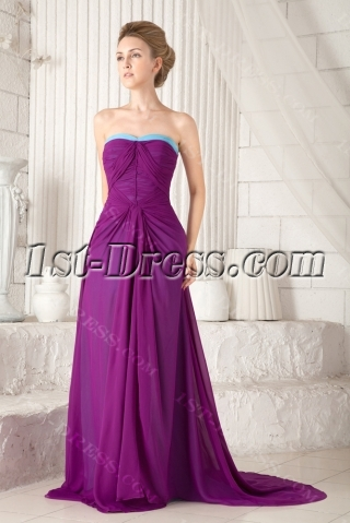 Purple Plus Size Formal Evening Dress with Train