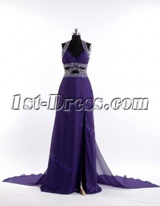 Purple Sexy Club Dress with Halter