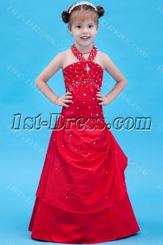 Red Halter Mini Bridal Dress for Girl