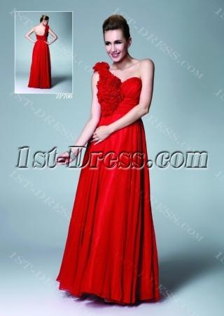 Red Long Chiffon One Shoulder Sweet Sixteen Dress