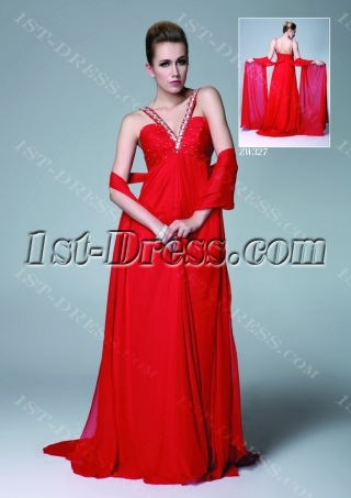 Red Sexy Chiffon Evening Dress with Backless