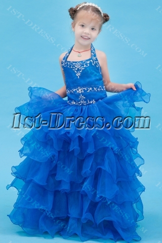 Royal Blue Halter Formal Mini Bridal Gowns for Girls