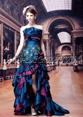 Royal Blue Taffeta Ruffled Sexy Evening Dress for Party