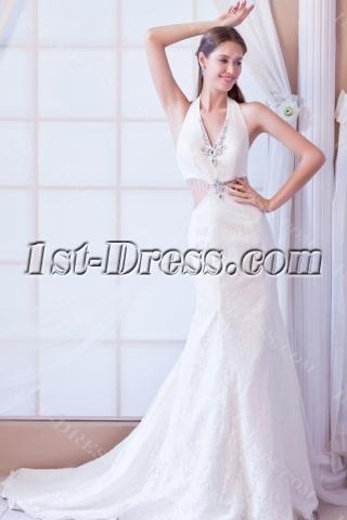 Sexy Halter Backless Summer Bridal Dress