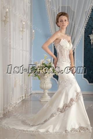 Sexy Illusion Body Summer Beach Wedding Gown
