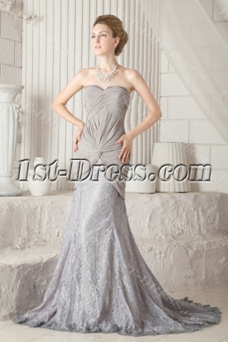 Sheath Gray Elegant Mother of Groom Dress