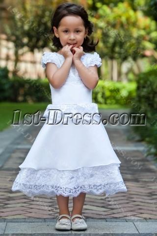 Short Sleeves Luxurious Tea Length Flower Girl Dress