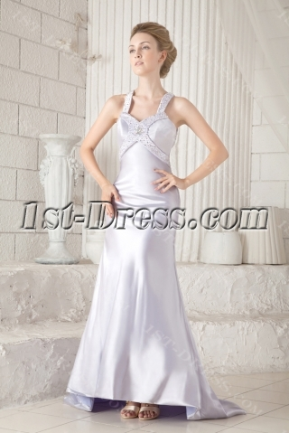Silver Crossed Straps Back Sexy Evening Dress