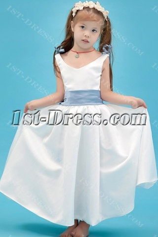 Simple Flower Girl Gown with Lavender Sash