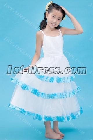 Spaghetti Straps Blue Flower Girl Dress for Summer