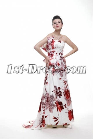 Special Red Printed Prom Party Dress 2011
