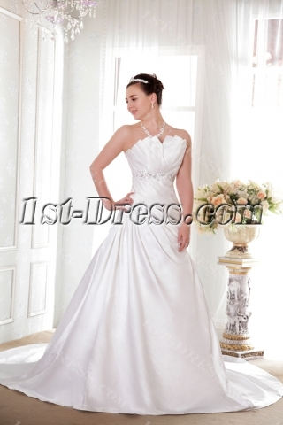 Strapless Long Princess Bridal Gowns Satin