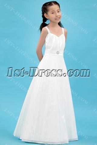 Straps Pleats Kids Formal Mini Bridal Gown for Flower Girl