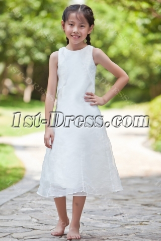 Tea Length Flower Girl Dresses for Beach Wedding