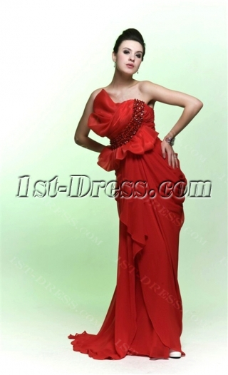 Unique Red Chiffon Sheath Evening Formal Dresses