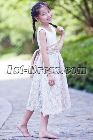 White and Champagne Elegant Short Lace Flower Girl Dress