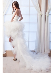 2014 Feather Luxury Short Summer Beach Wedding Dress with Train