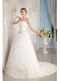 Basque 2014 Spring Wedding Dress with Flower