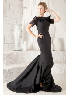 Black Open Back Sexy Wedding Dress with Short Sleeves:1st-dress.com