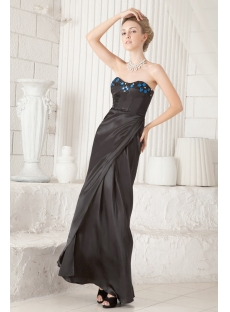 Black and Royal Sheath Little Black Prom Dress