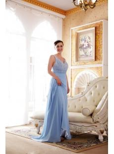 Blue Beaded Straps Plus Size Evening Dress