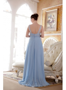 Blue Beaded Straps Plus Size Evening Dress