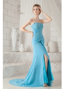 Blue Chiffon Strapless Pretty Prom Dress