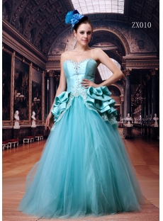 Blue Hot Sale 2011 Quince Gown Dress Long