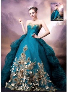 Blue and Gold Luxury Gothic Wedding Dress